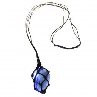 Colar de Pedra Castroada de Quartzo Azul