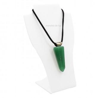 Colar de Ponta Polida de Quartzo Verde Cristal Natural