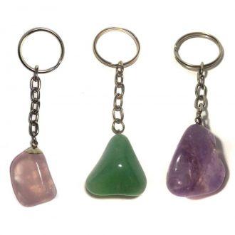 Kit Combo com 3 Chaveiros de Quartzo Verde, Rosa e Ametista Pedras Naturais