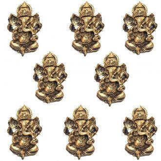 Combo 8 Estátuas de Ganesha Dourado 9,5cm - Atacado