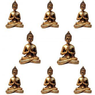 Combo 8 Estátuas de Mini Buda Dourado 8,5cm - Atacado
