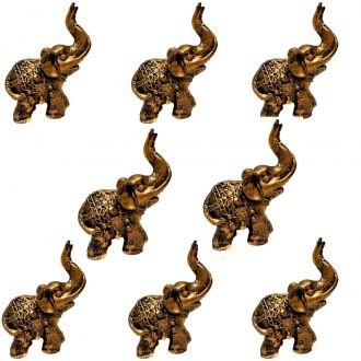 Combo 8 Estátuas de Mini Elefante Indiano Resina 8cm - Atacado