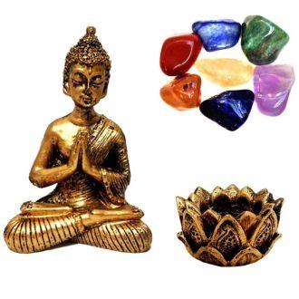 Combo Estátua de Buda + Castiçal + Pedras dos Chakras