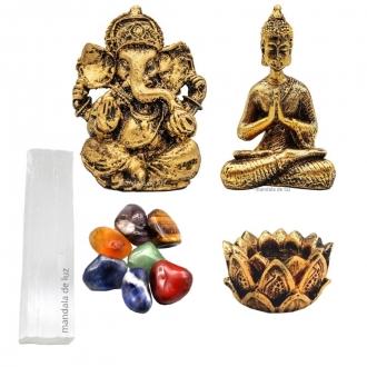 Combo Estatua de Buda + Ganesha + Castiçal + Selenita + 7 Pedras Chakras Naturais