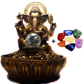 Combo Fonte de Água de Ganesha + Kit 7 Pedras dos Chakras