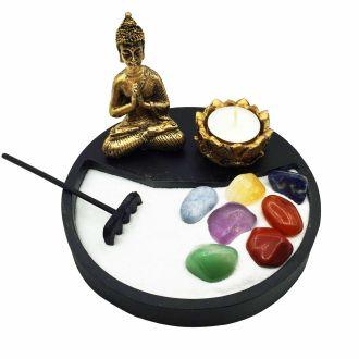 Combo Jardim Zen + Buda + Castiçal + Vela + Pedras dos Chakras