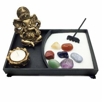 Combo Jardim Zen + Ganesha + Castiçal + Vela + Pedras dos Chakras