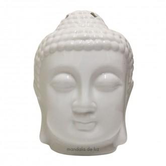 Difusor Cabeça de Buda Branco Cerâmica Aromatizador 12cm