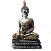 Estátua Buda Grande Prateado e Dourado Resina 32cm