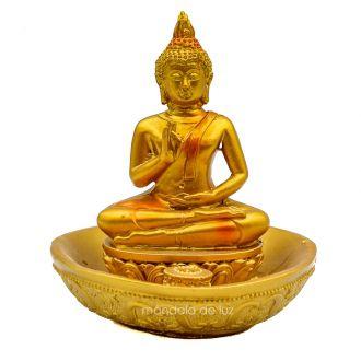 Estátua Buda Hindu Dourado com Base Redonda 10,5cm