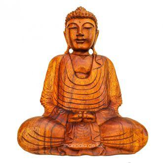 Estátua Buda Madeira de Lei Bali 50cm - Peça Única Frete Grátis