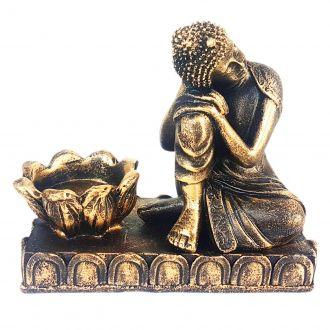 Estátua Buda Sonhador com Castiçal de Resina 11cm