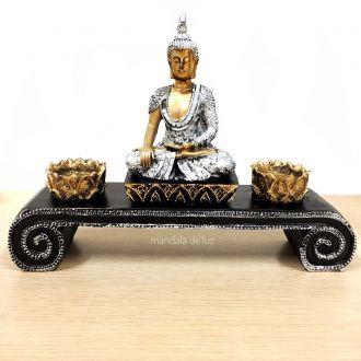Estátua de Buda Hindu com Altar e 2 Castiçais de Resina