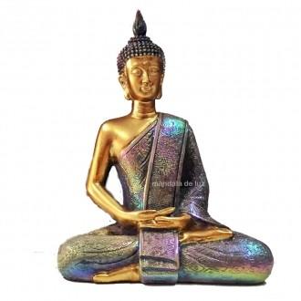 Estátua de Buda Hindu Dourado e Furta-cor Resina 21cm
