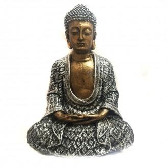 Estátua de Buda Hindu Dourado e Prateado 22cm