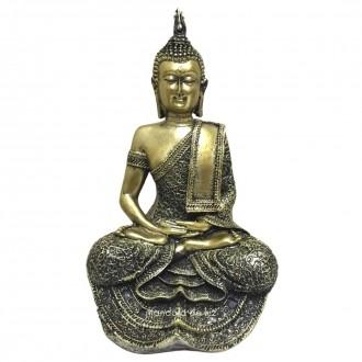 Estátua de Buda Hindu Dourado Resina 29cm