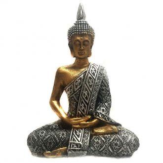 Estátua de Buda Hindu Resina Dourado e Prateado 19,5cm