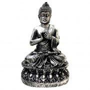 Estátua de Buda Hindu Resina Prateado 15cm