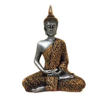 Estátua de Buda Hindu Resina Prateado e Dourado 19,5cm