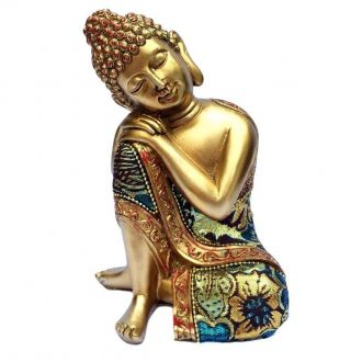 Estátua de Buda Sonhador Mão no Joelho Resina Dourado 16cm