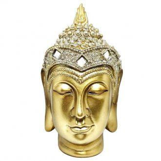 Estátua de Cabeça Buda Tibetano Dourado 15cm