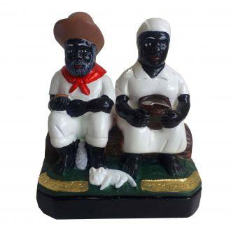 Estátua de Casal Preto Velho e Preta Velha Gesso 14cm