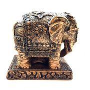 Estátua de Elefante Indiano Dourado Resina 10cm