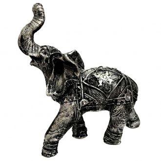 Estátua de Elefante Indiano Prateado Resina 23cm