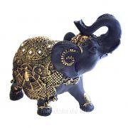 Estátua de Elefante Indiano Preto e Dourado Resina 18cm