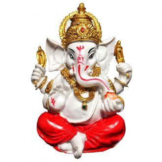 Estátua de Ganesha Colorido Branco Resina 10cm