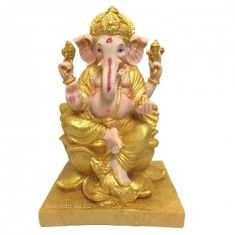 Estátua de Ganesha Dourado Flor de Lótus Resina 25cm