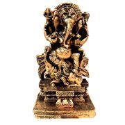 Estátua de Ganesha em Pé Dourado Resina 15cm