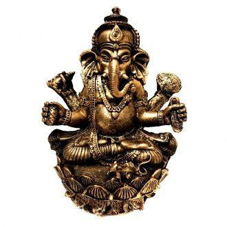 Estátua de Ganesha Flor de Lotus Dourada Resina 15cm