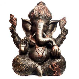 Estátua de Ganesha Grande Resina Cor Bronze 30cm