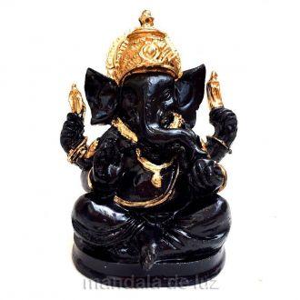 Estátua de Ganesha Preto e Dourado Resina 10cm