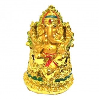 Estátua de Ganesha Sentado Dourado Resina 12cm