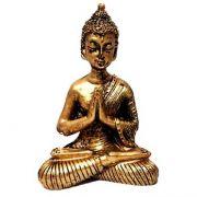 Estátua de Mini Buda Hindu Resina Dourado 8,5cm