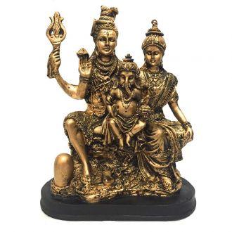 Estátua Família Shiva, Parvati, Ganesha Dourada Resina 26,5cm