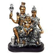 Estátua Família Shiva, Parvati, Ganesha Dourado e Prateado Resina 26,5cm