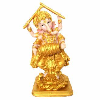 Estátua Ganesha em Pé Tocando Dourado 20cm