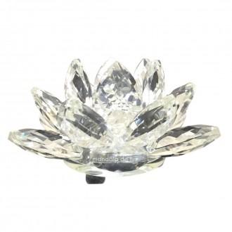 Flor de Lótus Cristal Transparente Brilhante Decoração 8cm