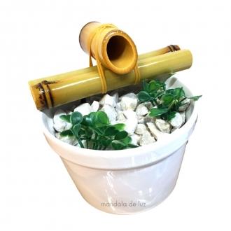 Fonte de Água Bambu com Cerâmica Feng Shui Branco
