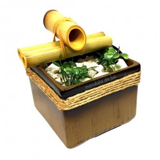 Fonte de Água Bambu com Cerâmica Feng Shui Marrom