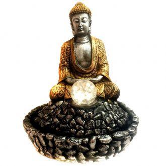 Fonte de Água Estátua de Buda Prateado e Dourado 31cm