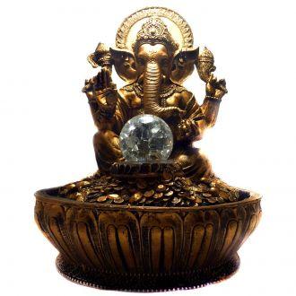 Fonte de Água Estátua de Ganesha Dourado Bivolt 30cm
