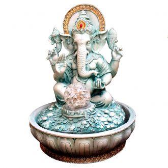 Fonte de Água Estátua de Ganesha Verde Resina Bivolt 30cm