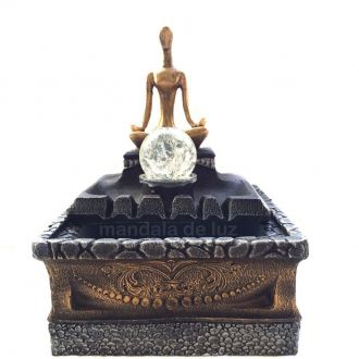Fonte de Água Estátua de Yoga Resina 25cm