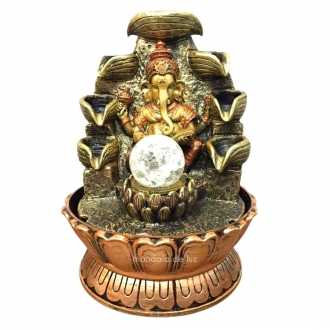 Fonte de Água Ganesha Flor de Lótus 8 Quedas Bivolt 27cm