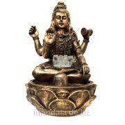 Fonte de Água Shiva com Flor de Lótus Dourada 28cm