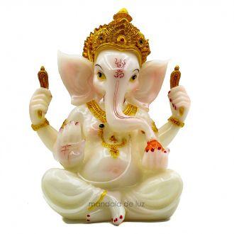 Estátua Ganesha Branco Sentado Resina 19cm